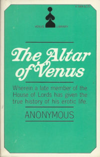 The Altar of Venus by Anonymous. Grove Press, 1969. Venus Library. Cover and logo designed by Roy Kuhlman.