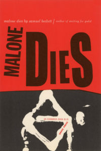 Malone Dies by Samuel Beckett. Grove Press, 1956. Evergreen Paperback. Cover designed by Roy Kuhlman.