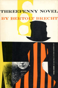 Threepenny Novel by Bertolt Brecht. Grove Press, 1956. Evergreen Paperback. Cover designed by Roy Kuhlman.